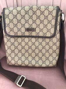 Genuine Gucci GG Monogram Snap Flap Messenger Bag Coated Canvas
