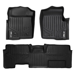 SMARTLINER All Weather Floor Mats Liner F-150 SuperCab W/O Flow Console Black