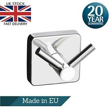 Double Towel Hook Dual Robe Hanger Square Stainless Steel  Polished Made in EU