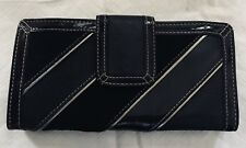 FOSSIL Black Suede Patent Patchwork Stripe Leather Clutch
