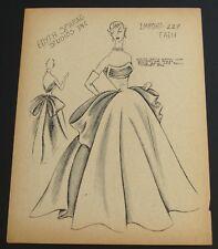 1950's Edyth Sparag Vintage Fath Fashion Design Original Print~Fabulous Gown!