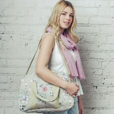 Grey Delicate Flower Print Overnight Maternity Weekend Travel Hand Luggage Bag