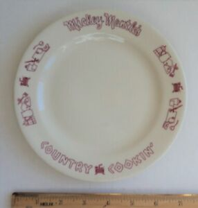 MIckey Mantle Country Cookin Restaurant Small Salad PLATE 1960's  - FLASH SALE
