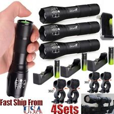 20000LM 4x Flashlight T6 LED Bicycle 18650+ Flashlights Mount Holder+Charger