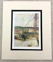 1905 Antique Print Bergen Norway Norwegian Harbour Port Landscape Painting