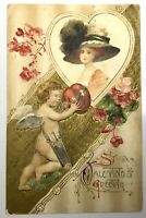 Antique VALENTINE POSTCARD Card Gold Accent Germany Unposted Cherub Lady Flowers
