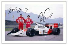 ALAIN PROST & AYRTON SENNA McLAREN SIGNED PHOTO PRINT AUTOGRAPH FORMULA ONE F1
