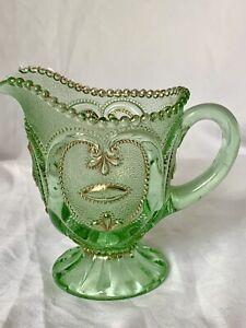 Dugan Jewelled Gold Heart Opalescent Green Glass Creamer