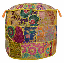 "18"" Patchwork Ottoman Pouf Indian Living Room Ottoman Pouf Cover Foot Stool"