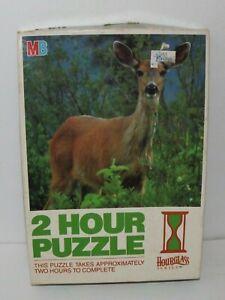 """Milton Bradley Hourglass 2 Hour Puzzle Deer In Woods #4766-7 14"""" x 14"""" Vtg 1987"""