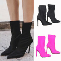 Pointed Toe Ankle Slip On Sock Shoes Thin High Heel Stretch Women Stiletto Boots