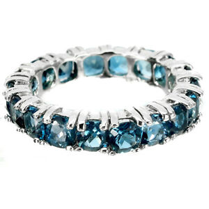 Round London Blue Topaz 4mm 14K White Gold Plate 925 Sterling Silver Ring Size 8