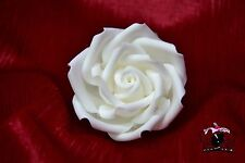 "Sugar paste rose flower 3"" white handmade sugarcraft, toppers, birthday, wedding"