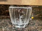 Orrefors Crystal Vase Etched Girl Woman with Birds & Flower
