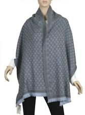 NEW GUCCI CURRENT GG PRINT WOOL JACQUARD REVERSIBLE GRAY/BLUE SHAWL SCARF UNISEX