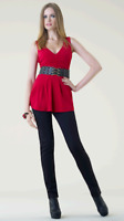 Women's SPIEGEL SHAPE FX Control Tunic Ruched Top Dark Red Size 14 NWT