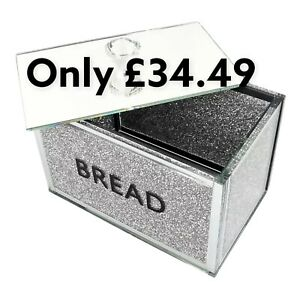 XXL Silver Crushed Diamond Crystal Mirrored Bread Bin Container Sparkly Glitter