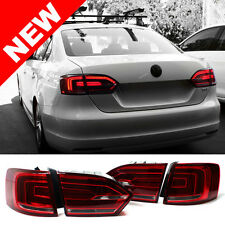 11-14 VW Jetta MK6 Euro Hybrid Style LED Taillights w/ Rear Fog - Red