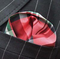 Hankie Pocket Square Handkerchief Red Black Blue Green Tartan