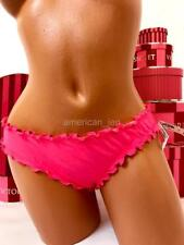 S Small VICTORIA'S SECRET Cheeky Ruffle Back Ruched Bikini Bottoms Pink 3FD