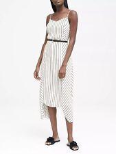 BANANA REPUBLIC STRIPE SLIP DRESS- WHITE NWT $128 SZ 4