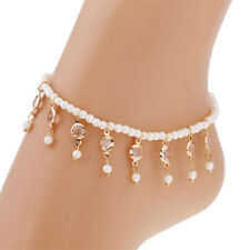 Fashion Beads Beaded Stretch Crystal Tassel Anklet Chain Elegant Foot Jewelry S