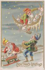 Embossed,New Years Greetings,Elves Dropping Money Bags,Postcard,Used,1909
