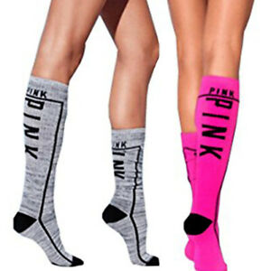 Victoria's Secret Pink Below The Knee High Socks Set Of Two NWOT One Size