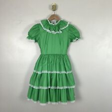 Vintage Sweet N Sassy Girls Party Dress Size 12 Green Ruffle Lace Button Up Bell