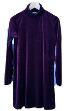 Women's Missguided Size 10, Velvet Look Burgundy Long Sleeve Knee Length Dress