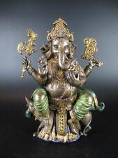 Buddha Ganesha Elefant Figur bronzefarben 20 cm,Neu,Museum Kollektion