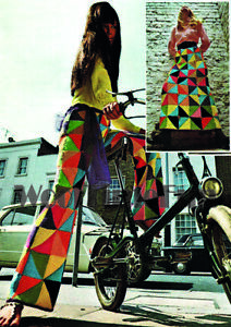 Knitting Pattern Lady's 60s/70s Patchwork Flared Trousers & Skirt. Boho/Hippy
