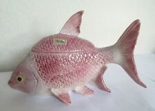 Fitz & Floyd 1986 Pink Fish Lidded Box, Covered Dish Candy Dish