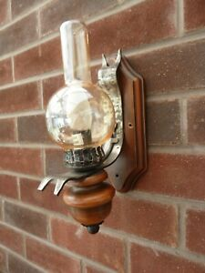 French Vintage Single Wood and Wrought Iron and Glass Wall Lights / Sconces