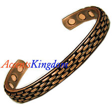 Accents Kingdom Men's Magnetic Copper Golf Bangle Cuff Bracelet Basket Weave