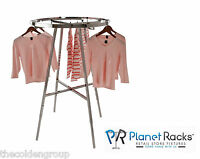 "Planet Racks 36"" Chrome Rectangular Tube Round Clothing Garment Display"