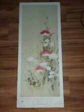 "Freer Gallery of Art Poster Nomura Sōtatsu 47"" x 19"" Red and White Poppies 1966"
