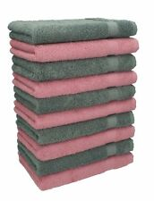 Betz 10 Toallas para invitados PREMIUM 100% algodón 30x50cm en rosa y antracita