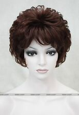 Dark Burgundy short Curly Women Ladies Daily Natural Fluffy Wig FTLD168