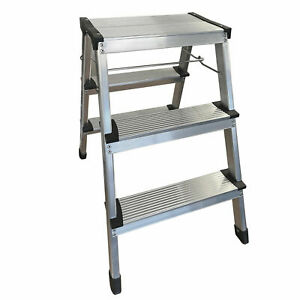 ALUMINIUM STEP LADDER 3 STEP TREAD LIGHTWEIGHT ANTI SLIP 150kg CAPACITY home diy