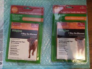 2 pks. SENTRY HC WORM X PLUS 7 Way De-Wormer Tablets 4 Med&LG Large Dogs