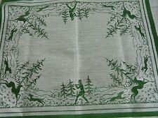 4 VINTAGE very fine European Woven silk like fabric Hunting scene PLACEMATS