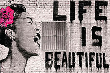 Banksy - Life is Beautiful Poster (24x36) With Choice of Rolled/Frame/Plaque