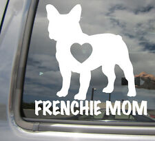 Frenchie Mom Love Heart - French Bulldog - Car Vinyl Die-Cut Decal Sticker 01005