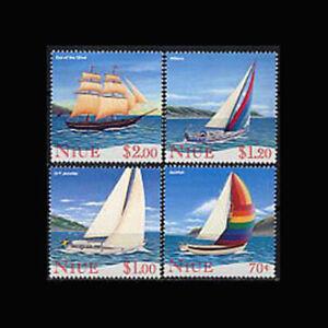 Niue, Sc #679-82, MNH, 1996, YACHTING, SAIL BOATS, SHIPS, HED-A
