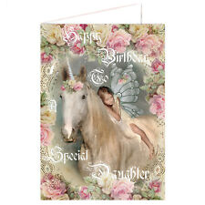 Special Daughter Birthday Card Unicorn, fairy Girl - Luxury card- Party Supplies