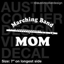 "7"" MARCHING BAND MOM w/ FLUTE vinyl decal car window laptop sticker"