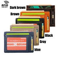 RFID Ultra-Thin Men's Leather Slim Money Clip ID Window Card Holder Purse Wallet