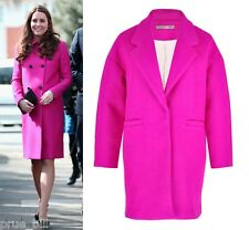 Bold Bright Neon Fuchsia Cocoon Blazer Lapel Wool Winter Long Coat Oversized