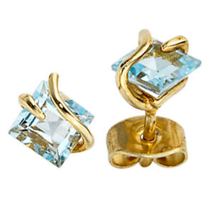 Studs Square 375 Yellow Gold 2 Pure Topaz Light Blue Earrings